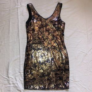 Soprano Navy and Rose Gold Sequin Mini Dress